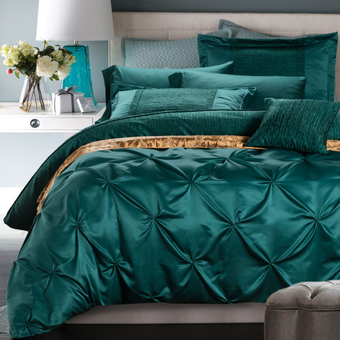 6-Pieces-Cotton-Imitated-font-b-Silk-b-font-Luxury-Bedding-Set-Solid-Color-Pinch-Pleat